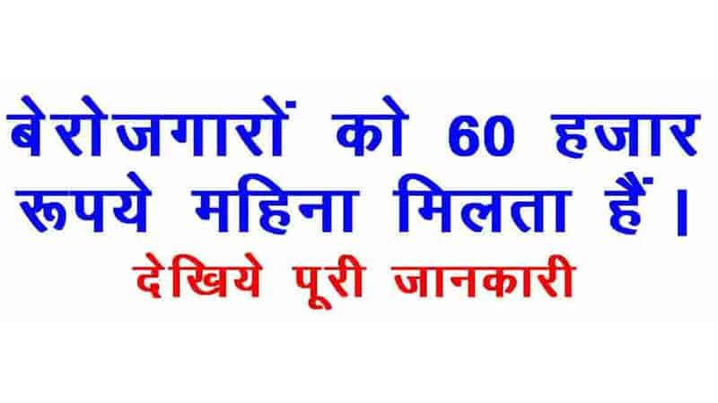 बेरोजगारों को 60 हजार रुपये महिना मिलता है ! पूरी जानकारी इस विडियो में ! Job For unemployed Persons